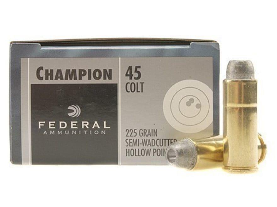 Federal Champion Ammunition 45 Colt (Long Colt) 225 Grain Lead Semi-Wadcutter Hollow Po...