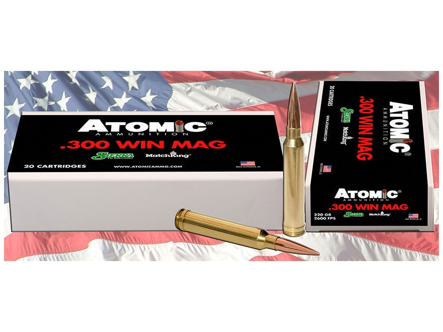 Atomic Ammunition 300 Winchester Magnum 220 Grain Sierra MatchKing Hollow Point Boat Ta...
