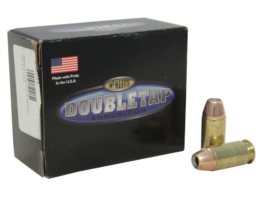 DoubleTap Ammunition 45 ACP +P 255 Grain Equalizer Jacketed Hollow Point Box of 20