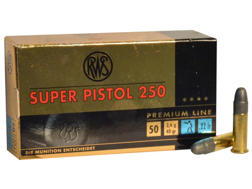 RWS Super Pistol 250 Ammunition 22 Long Rifle 40 Grain Lead Round Nose Box of 50