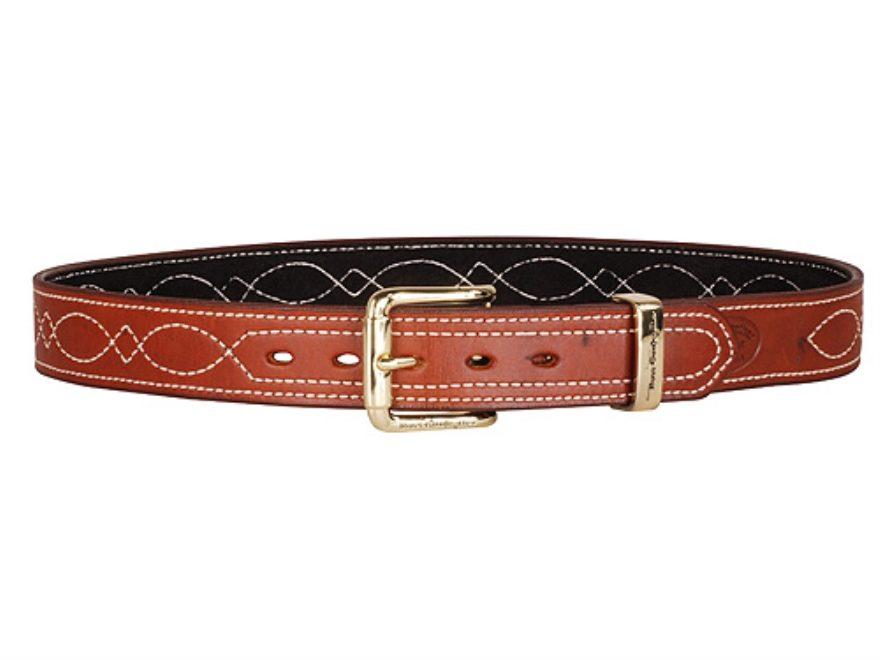 """Ross Leather Fancy Stitch Dress Belt 1.5"""" Brass Buckle Leather Tan 38"""""""