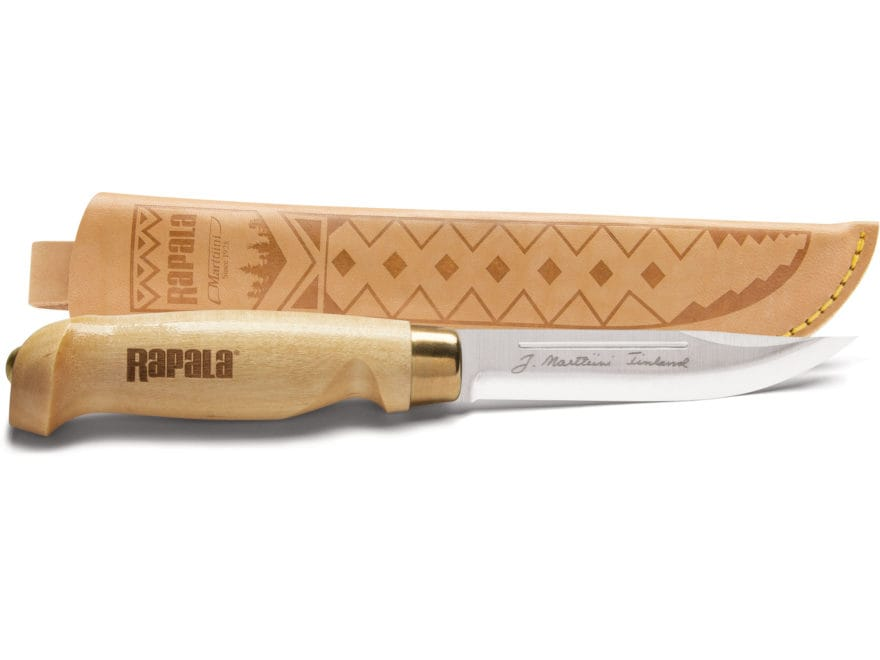 "Rapala Classic Birch Fixed Blade Hunting Knife 4.5"" Clip Point Stainless Steel Blade Bi..."