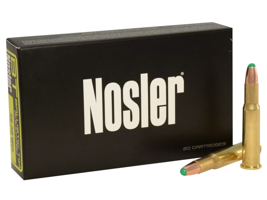 Nosler BT Ammunition 30-30 Winchester 150 Grain Round Nose Ballistic Tip Box of 20
