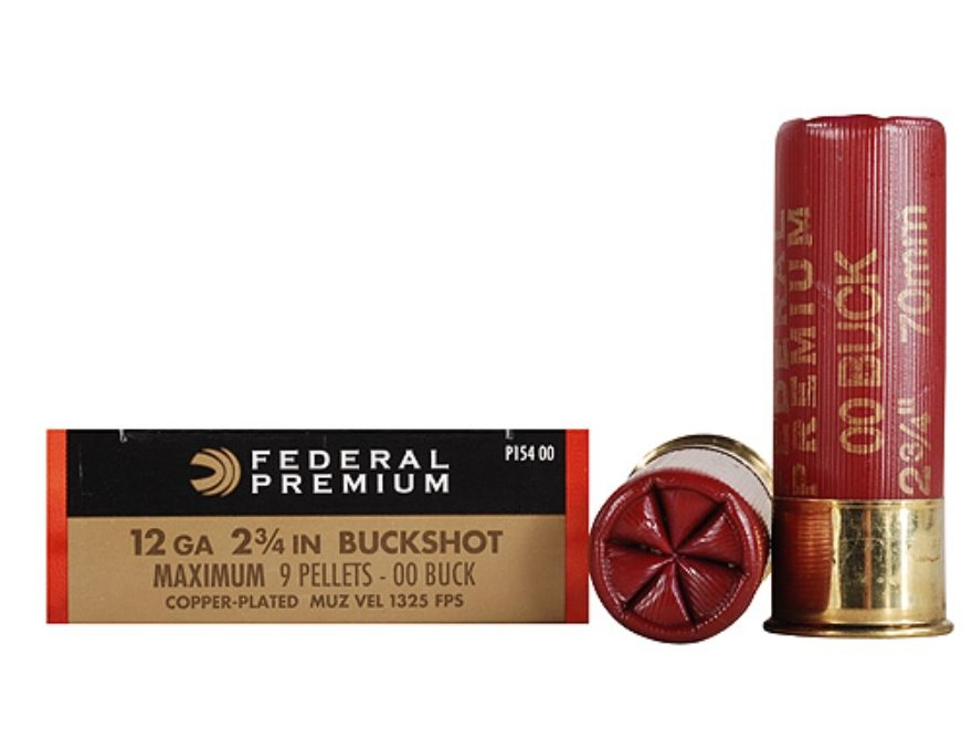 "Federal Premium Vital-Shok Ammunition 12 Gauge 2-3/4"" Buffered 00 Copper Plated Bucksho..."