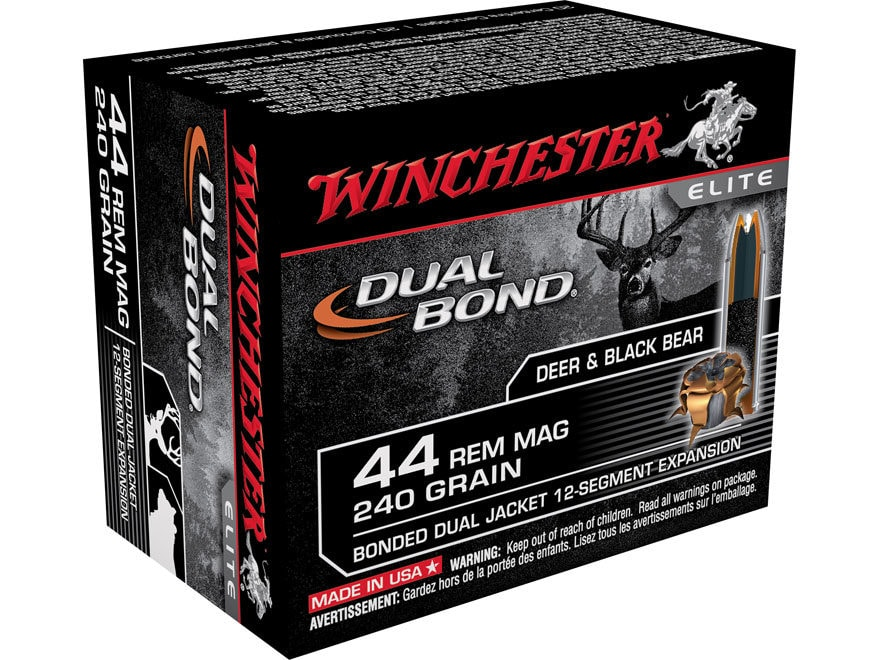 Winchester Dual Bond Ammunition 44 Remington Magnum 240 Grain Jacketed Hollow Point