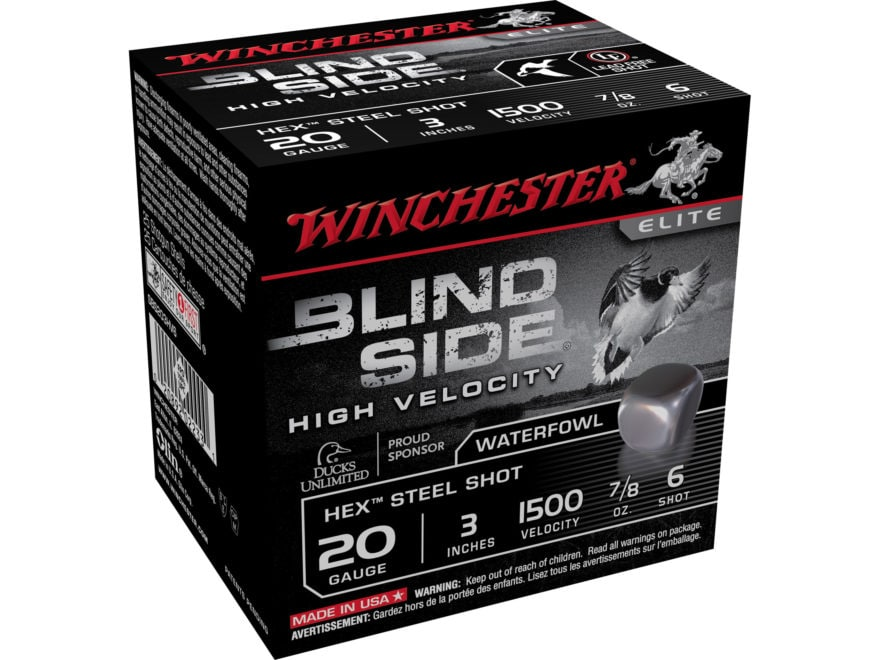 "Winchester Blind Side High Velocity Ammunition 20 Gauge 3"" 7/8 oz #6 Non-Toxic Steel Shot"