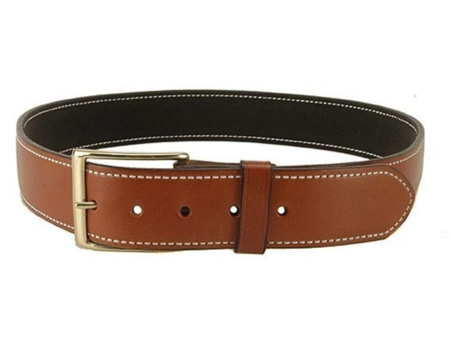 "DeSantis Plain Holster Belt 1-3/4"" Brass Buckle Suede Lined Leather"