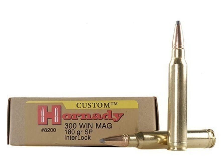 Hornady Custom Ammunition 300 Winchester Magnum 180 Grain InterLock Spire Point Box of 20