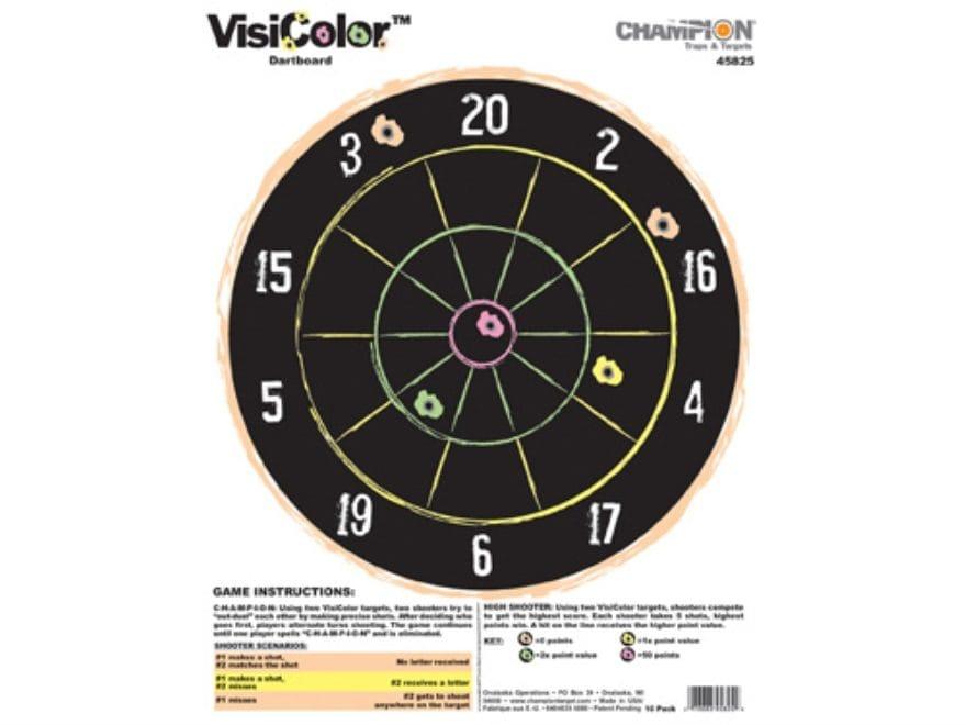 "Champion VisiColor Dartboard Targets 11"" x 14"" Paper Pack of 10"