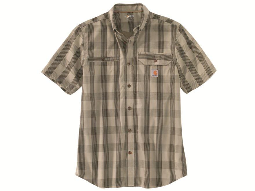 Carhartt Men's Force Ridgefield Plaid Button-Up Short Sleeve Shirt Polyester/Cotton