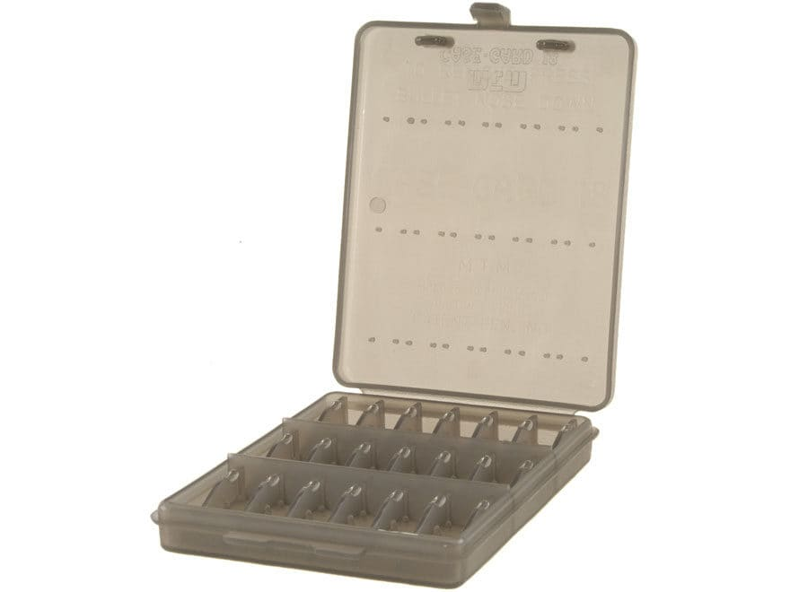 MTM Ammo Wallet Pistol Ammunition Carrier 18-Round 380 ACP, 9mm Luger Plastic Clear-Smoke
