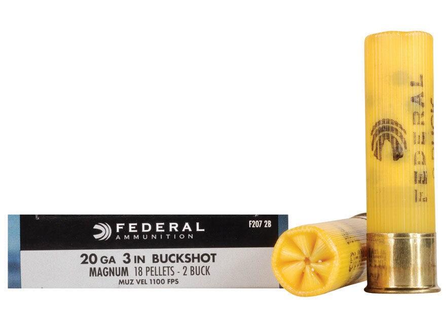 """Federal Power-Shok Ammunition 20 Gauge 3"""" Buffered #2 Buckshot 18 Pellets Box of 5"""