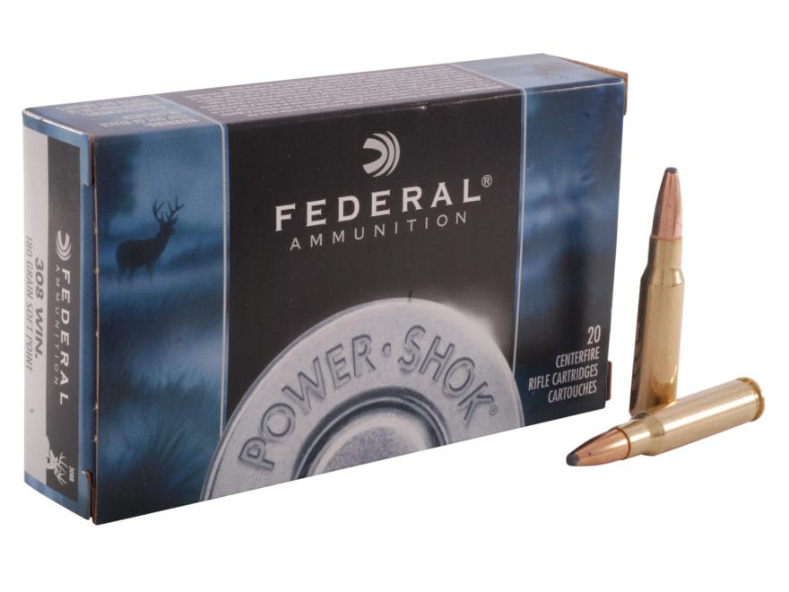 Federal Power-Shok Ammunition 308 Winchester 180 Grain Soft Point