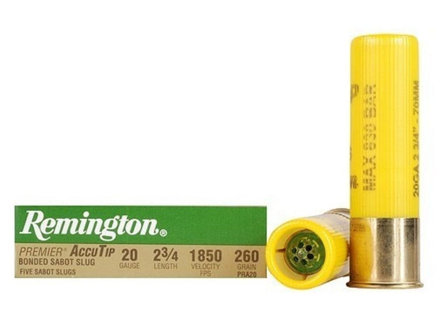 "Remington Premier Ammunition 20 Gauge 2-3/4"" 260 Grain AccuTip Bonded Sabot Slug with P..."