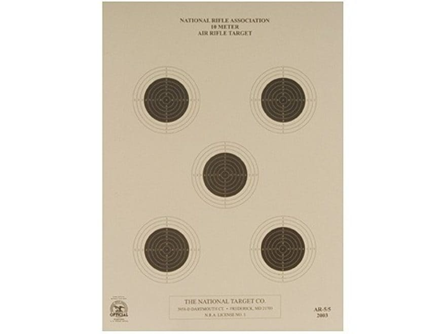 NRA Official Air Rifle Targets AR-5/5 10 Meter Air Rifle Paper Package of 100