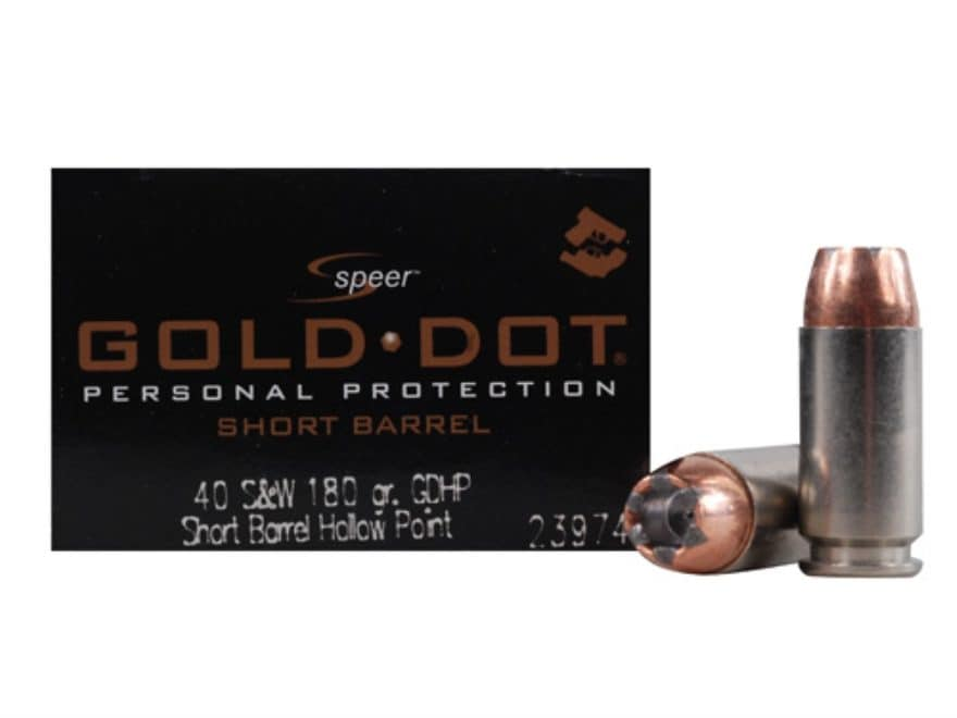 Speer Gold Dot Short Barrel Ammunition 40 S&W 180 Grain Jacketed Hollow Point