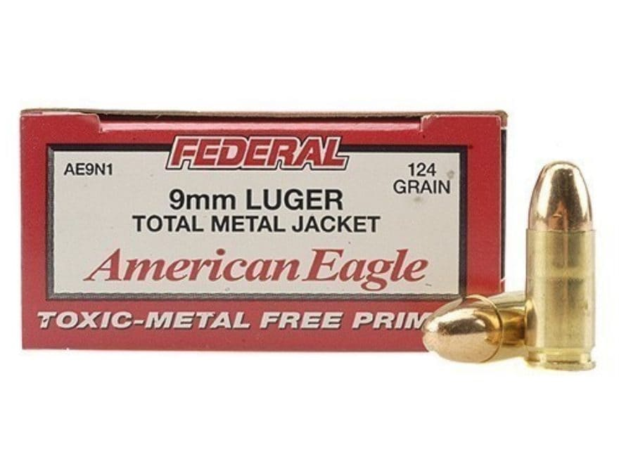 Federal American Eagle Ammunition 9mm Luger 124 Grain Total Metal Jacket