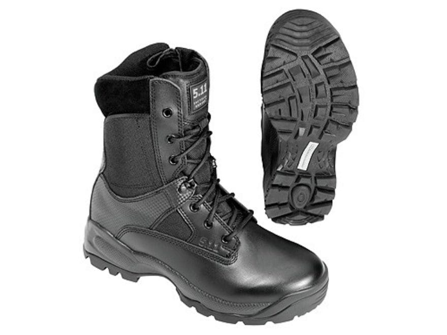"5.11 ATAC Storm 8"" Tactical Boots Leather and Nylon Side Zip Black Men's"