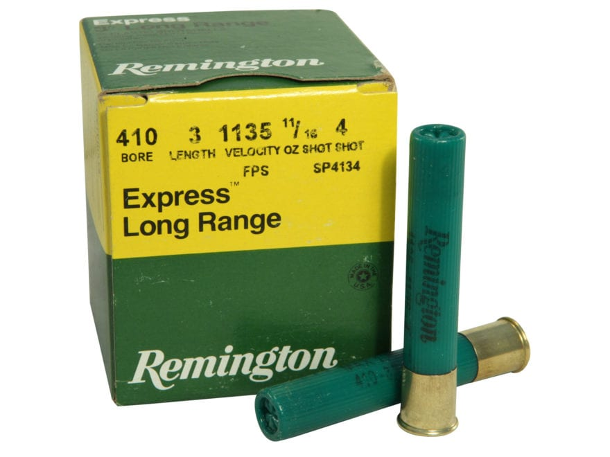 "Remington Express Extra Long Range Ammunition 410 Bore 3"" 11/16 oz #4 Shot Box of 25"