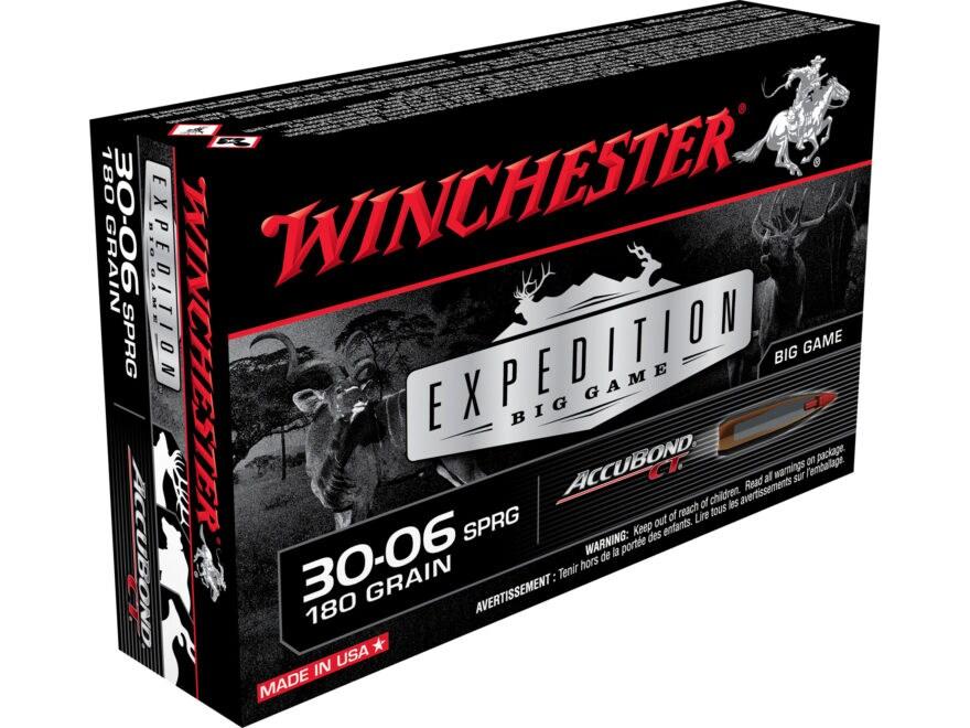 Winchester Expedition Big Game Ammunition 30-06 Springfield 180 Grain Nosler AccuBond