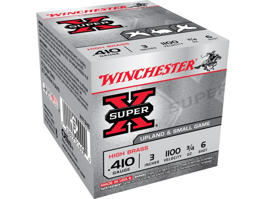 "Winchester Super-X High Brass Ammunition 410 Bore 3"" 3/4 oz #6 Shot Box of 25"