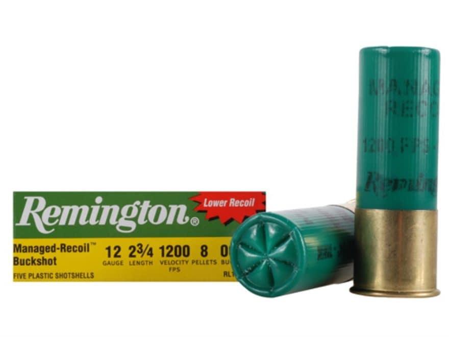 "Remington Express Managed-Recoil Ammunition 12 Gauge 2-3/4"" 00 Buckshot 8 Pellets Box of 5"
