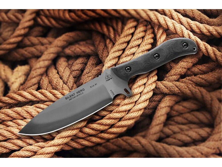 """TOPS Knives Silent Hero Fixed Blade Knife 6.38"""" Hunters Point 1095 High Carbon Alloy Bl..."""