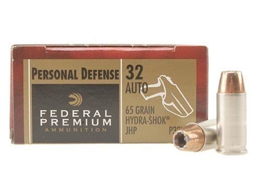 Federal Premium Personal Defense Ammunition 32 ACP 65 Grain Hydra-Shok Jacketed Hollow ...