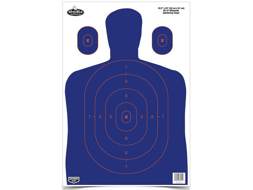 "Birchwood Casey Dirty Bird 16-1/2"" x 24"" BC-27 Blue/Orange Silhouette Targets Package of 3"