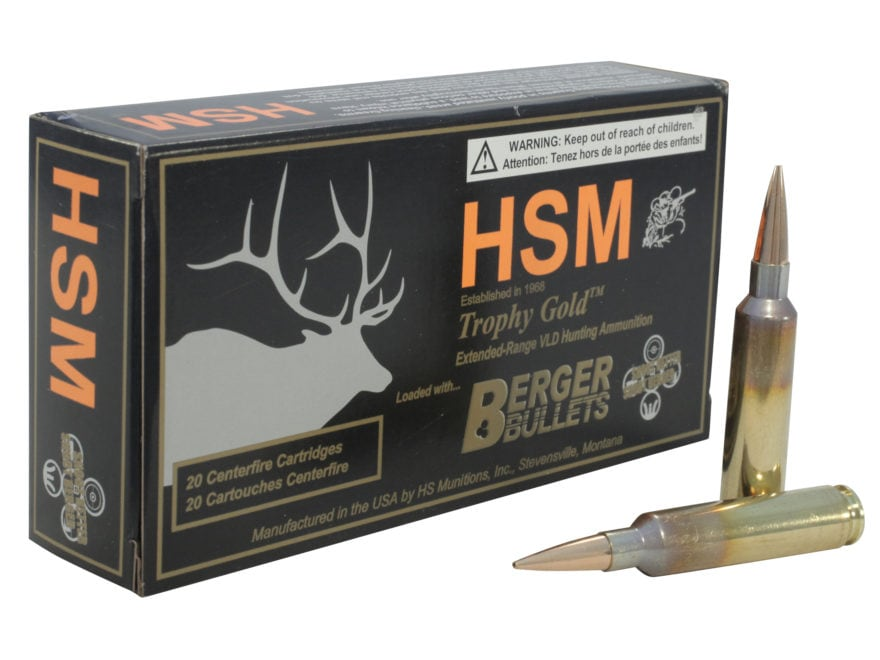 HSM Trophy Gold Ammunition 6.5mm-284 Norma 140 Grain Berger Hunting VLD Hollow Point Bo...