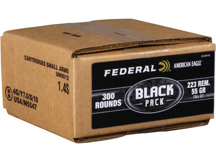 Federal American Eagle Black Pack Ammunition 223 Remington 55 Grain Full Metal Jacket B...