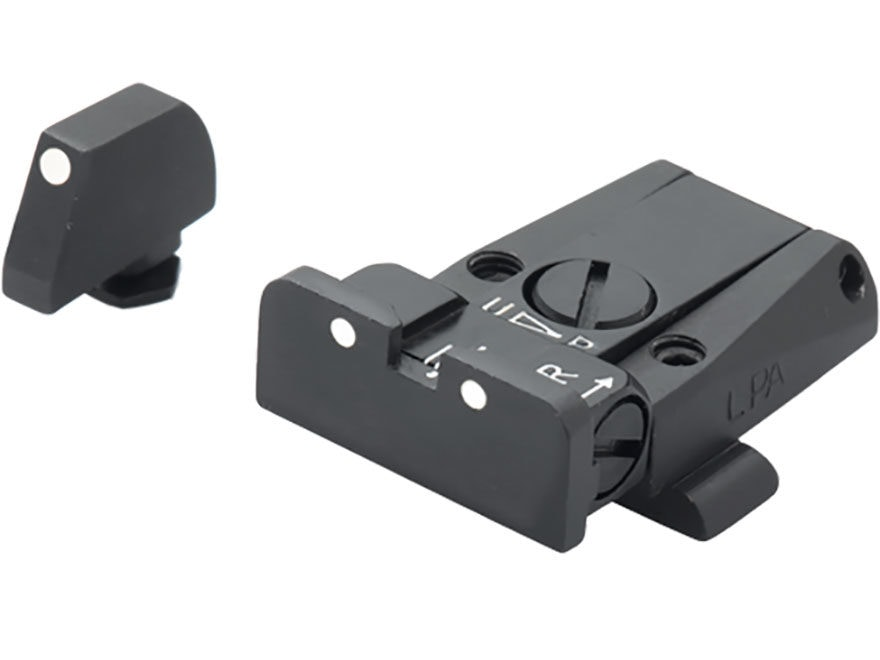 LPA SPR Adjustable Sight Set Glock 17, 19, 22, 23, 34, 35 Steel White Dot