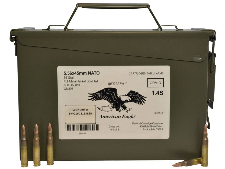 Federal American Eagle Ammunition 5.56x45mm NATO 55 Grain XM193 Full Metal Jacket Boat ...