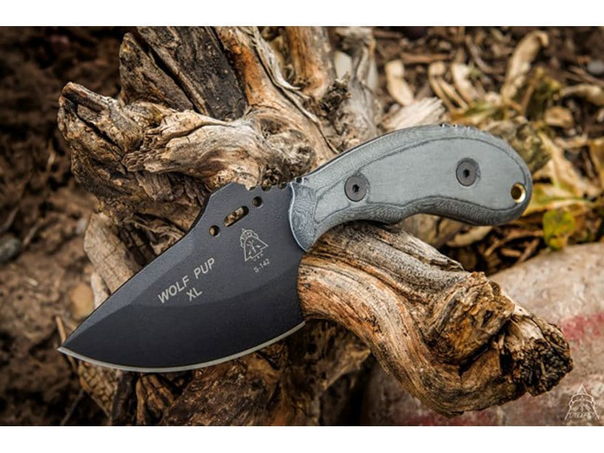 "TOPS Knives Wolf Pup XL Fixed Blade Knife 3.5"" Drop Point 1095 High Carbon Alloy Blade ..."