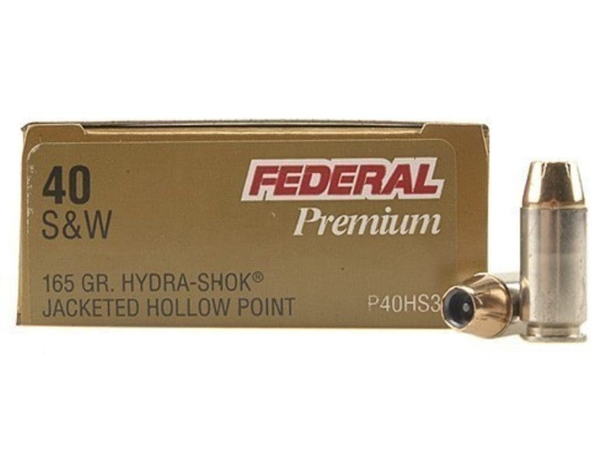 Federal Premium Personal Defense Ammunition 40 S&W 165 Grain Hydra-Shok Jacketed Hollow...