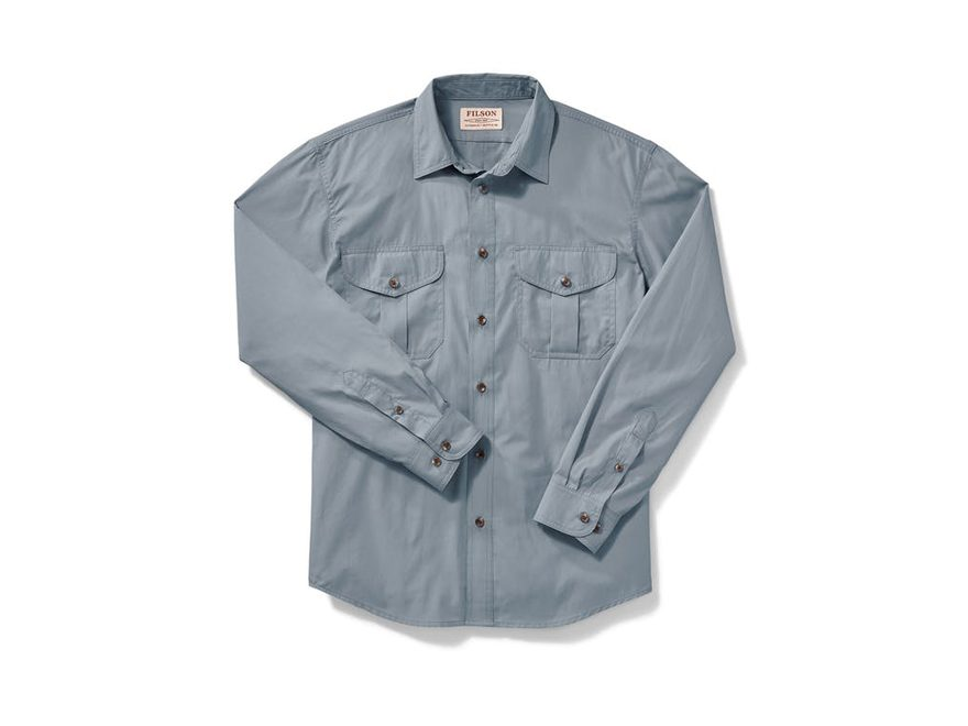 Filson Men's Feather Cloth Button-Up Shirt Long Sleeve Cotton