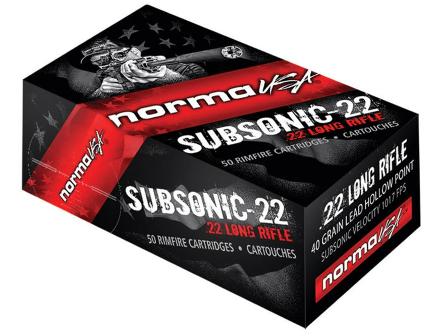 Norma Subsonic-22 Ammunition 22 Long Rifle 40 Grain Lead Hollow Point