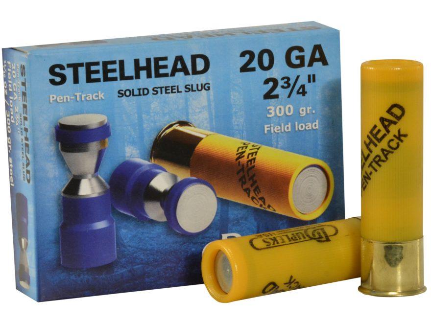 """DDupleks Steelhead Pen-Track Ammunition 20 Gauge 2-3/4"""" 11/16 oz Solid Steel Slug Box of 5"""