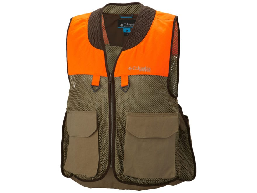 Columbia Men's Ptarmigan Upland Bird Vest Polyester and Nylon Flax and Blaze Orange