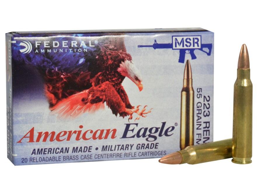 Federal American Eagle Ammunition 223 Remington 55 Grain Full Metal Jacket Boat Tail