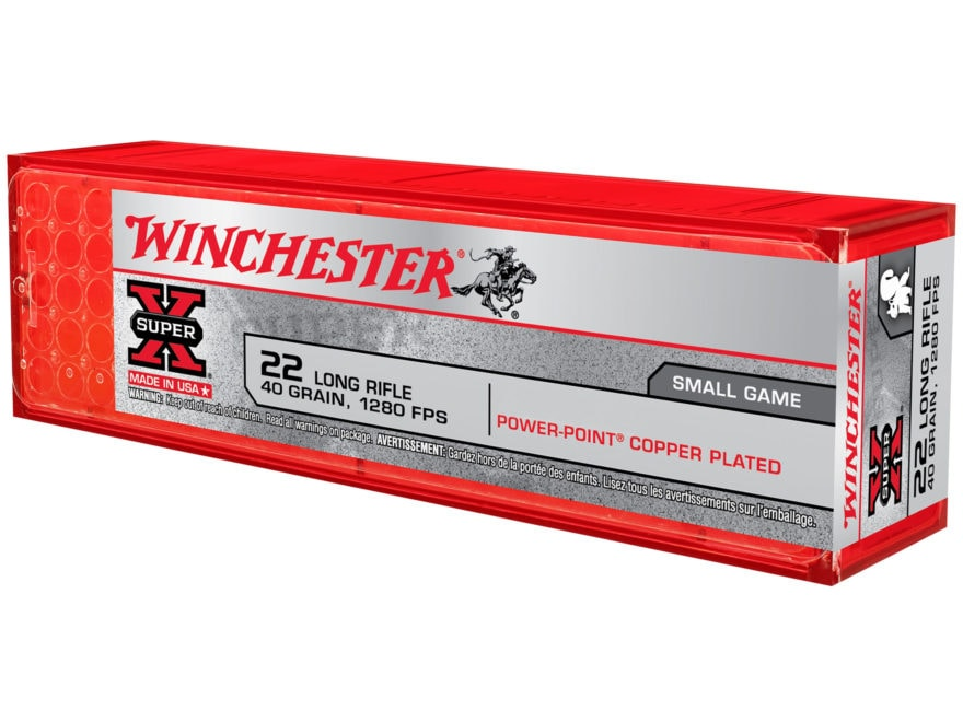 Winchester Super-X High Velocity Ammunition 22 Long Rifle 40 Grain Power-Point Plated L...