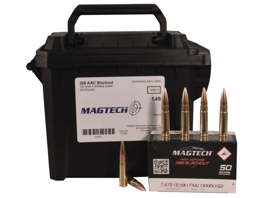 Magtech First Defense Ammunition 300 AAC Blackout 123 Grain Full Metal Jacket Ammo Can ...