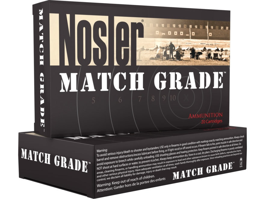 Nosler Match Grade Ammunition 22 Nosler 85 Grain RDF Hollow Point Boat Tail Box of 20