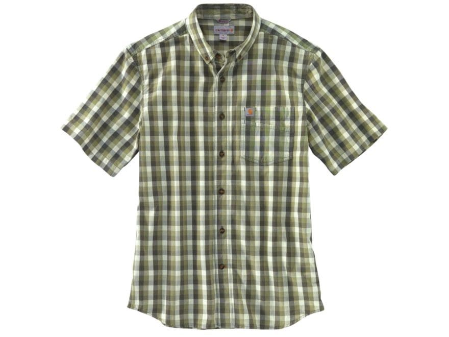 Carhartt Men's Essential Plaid Button-Up Shirt Short Sleeve Cotton