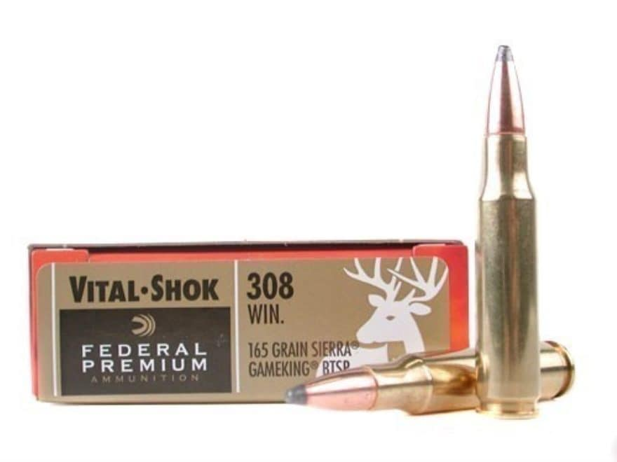 Federal Premium Vital-Shok Ammunition 308 Winchester 165 Grain Sierra GameKing Soft Poi...