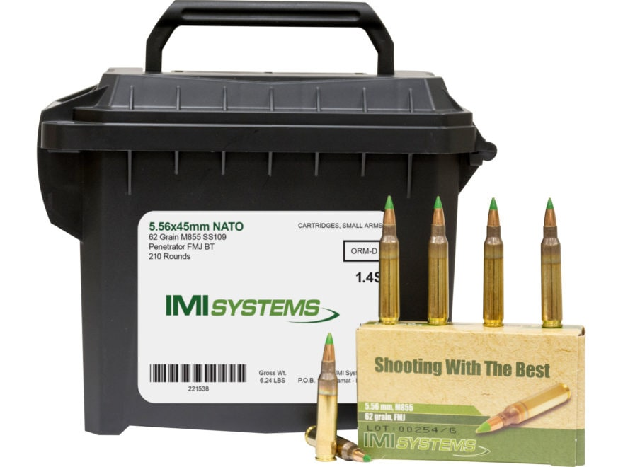 IMI Ammunition 5.56x45mm NATO 62 Grain M855 SS109 Penetrator Full Metal Jacket Boat Tai...