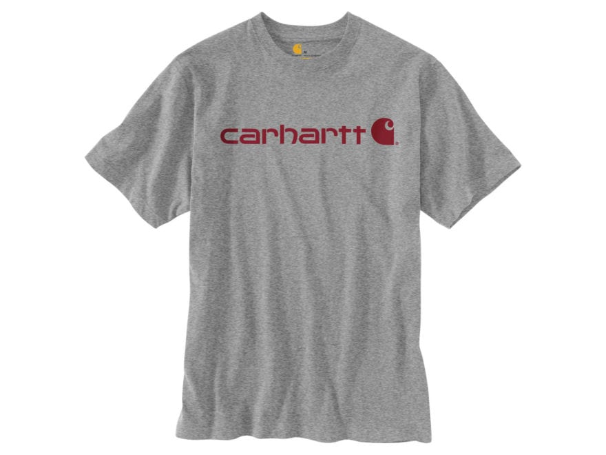 Carhartt Men's Signature Logo T-Shirt Short Sleeve Cotton