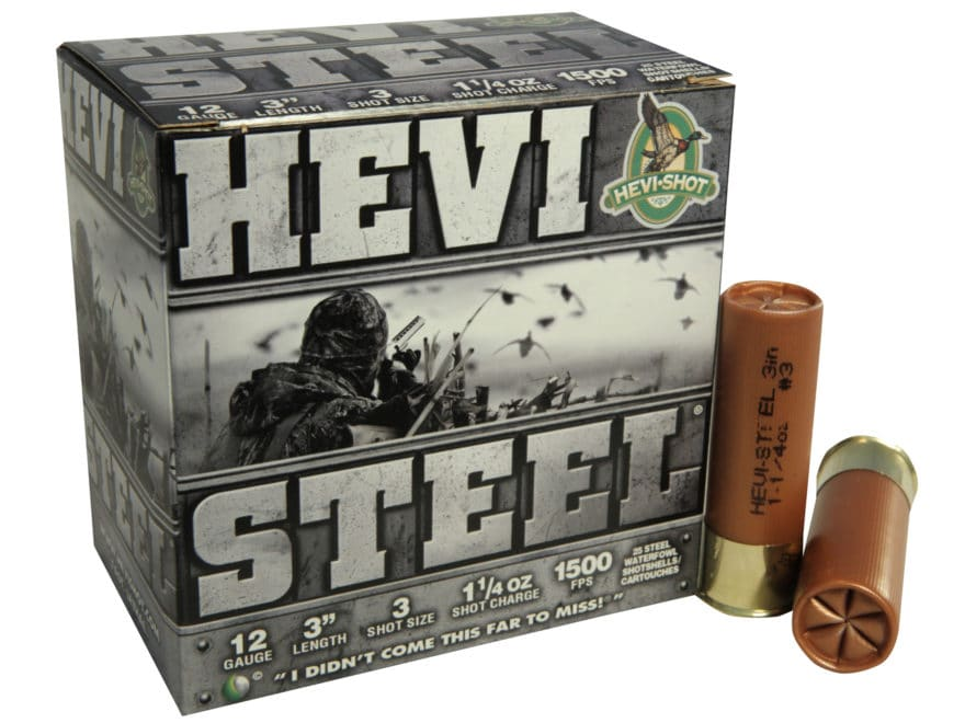 "Hevi-Shot Hevi-Steel Waterfowl Ammunition 12 Gauge 3"" 1-1/4 oz #3 Non-Toxic Shot"