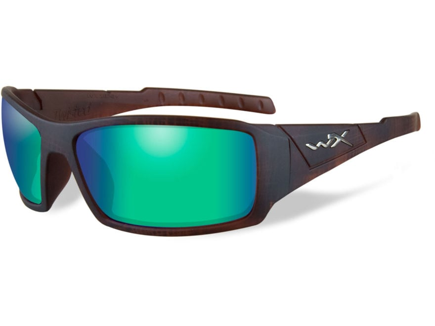 Wiley X WX Twisted Polarized Sunglasses Matte Hickory Brown Frame/Emerald Mirror Amber ...
