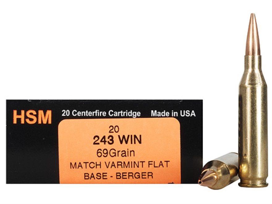 HSM Varmint Gold Ammunition 243 Winchester 69 Grain Berger Varmint Hollow Point Flat Ba...